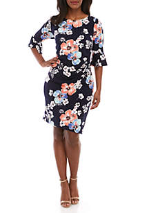Connected Apparel Plus Size Bell Sleeve Floral Side Ruched Dress