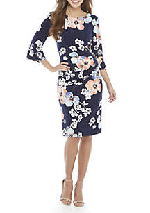 Connected Apparel Bell Sleeve Floral Side Ruche Dress