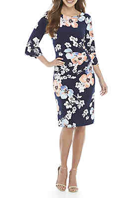 f12c91f8a0823 Connected Apparel Bell Sleeve Floral Side Ruche Dress ...