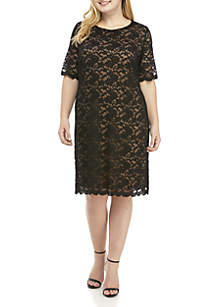Plus Size Lace Overlay Dress