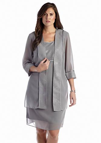 Dana Kay Plus Size Three Quarter Sleeve Duster Jacket Dress Belk