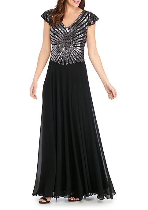 JKARA Long Embellished Bodice With Flutter Sleeves Gown