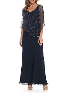 Bead Embellished Poncho Overlay Mesh Gown