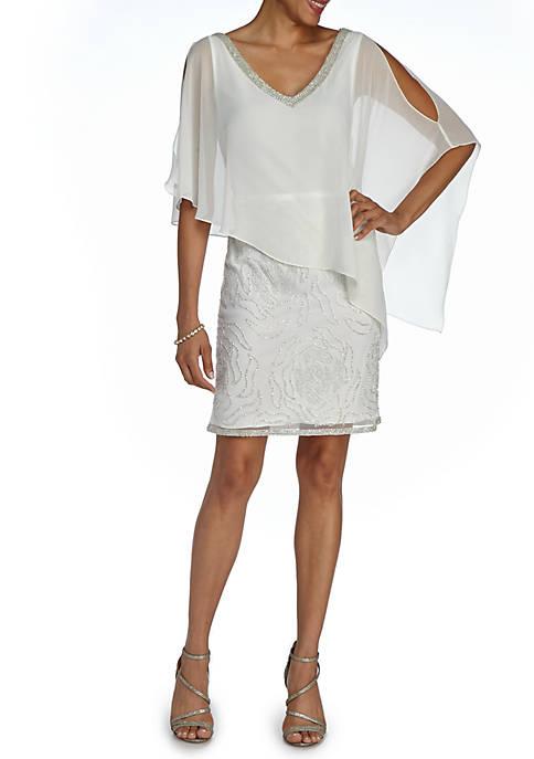 JKARA Beaded Cocktail Dress with Capelet   belk