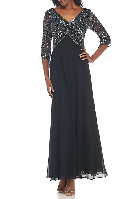JKARA Bead Embellished Bodice Gown