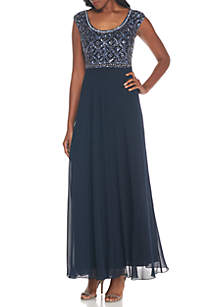 Cap-Sleeve Bead Embellished Bodice Gown