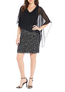 Embellished Chiffon Poncho Short Dress