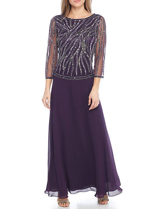 JKARA Three-Quarter Sleeve Beaded Bodice Gown | belk