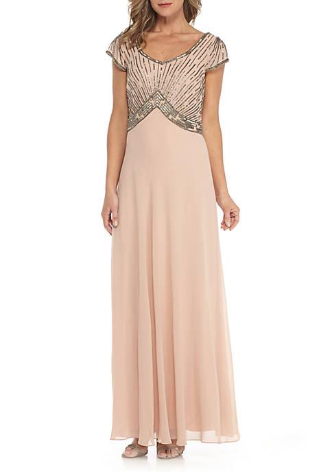 JKARA Bead Embellished Empire-Waist Mesh Gown | belk