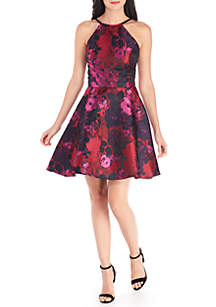 High Neck Brocade Fit and Flare Dress