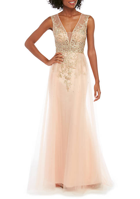 Sleeveless Embroidered Ball Gown with Tulle