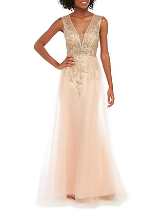 Xscape Sleeveless Embroidered Ball Gown With Tulle Belk