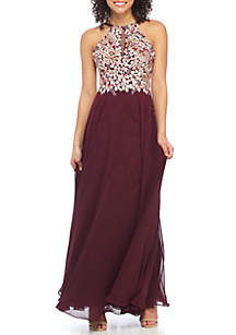 Bead Embellished Embroidered Halter Gown