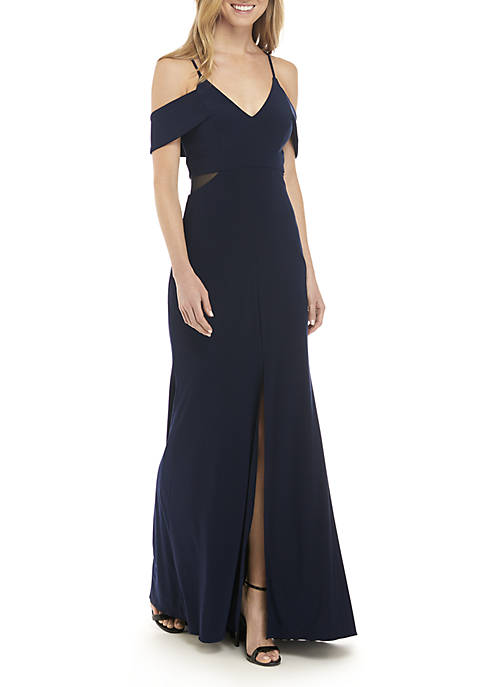 Xscape Cold Shoulder Jersey Gown