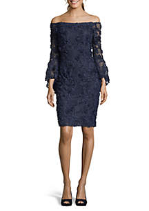 Xscape Off The Shoulder Lace Sheath Dress