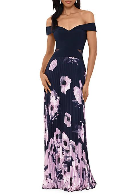 Off the Shoulder Floral Skirt Long Dress
