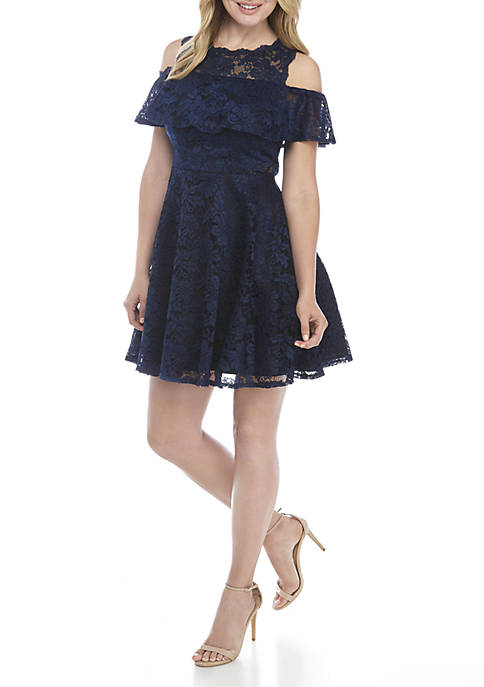 Xscape Cold Shoulder Lace Cocktail Dress