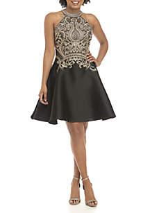 Sleeveless Halter Embellished Satin Dress