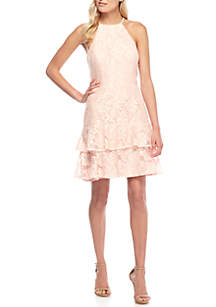 Lace Halter Ruffle Tiered Dress