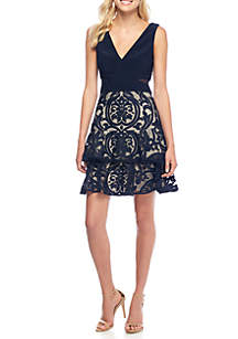 Embroidered Ruffle Skirt Cocktail Dress
