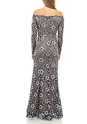 6b368608 ... Xscape Off The Shoulder Beaded Lace Mermaid Gown
