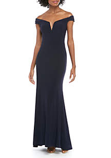 Xscape Off The Shoulder Deep V Long ITY Gown
