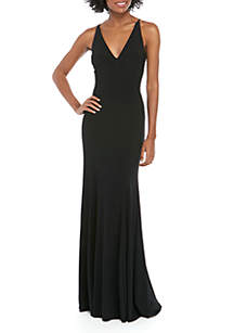 Xscape Sleeveless ITY Mesh Back Gown