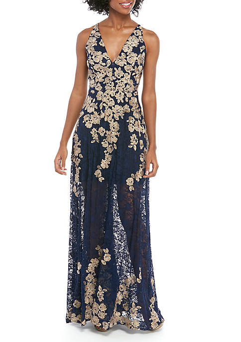 Sleeveless Long Lace Embroidered Gown