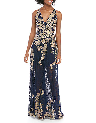 4b8aa51b539 Xscape Sleeveless Long Lace Embroidered Gown | belk
