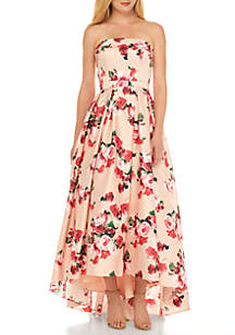 Strapless High Low Floral Bustier Dress