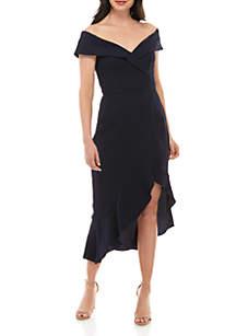 Xscape Off The Shoulder Midi Wrap Cocktail Dress