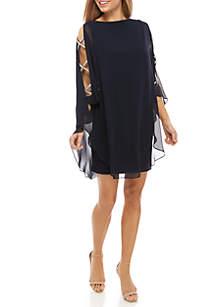 Xscape Rhinestone Embellished Chiffon Overlay Jersey Dress