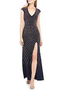 Xscape Short Sleeve Long Beaded ITY Gown