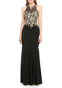 Xscape Sleeveless ITY Embroidered Top Gown