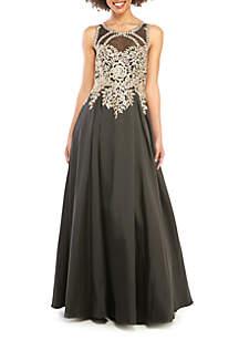 10317451e68 RM Richards Short Sleeve Beaded Long Gown · Xscape Bead Embroidered Mesh  Bodice Taffeta Ballgown