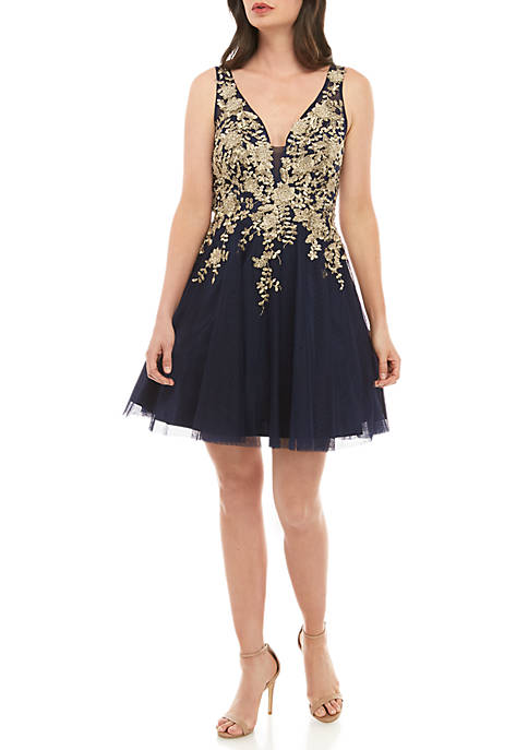 Beaded Embroidered Bodice Tulle Party Dress