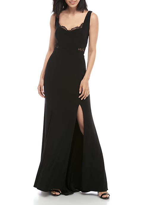 Sleeveless ITY Lace Inset Long Gown