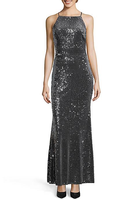 Xscape Long Velvet Sequin Gown
