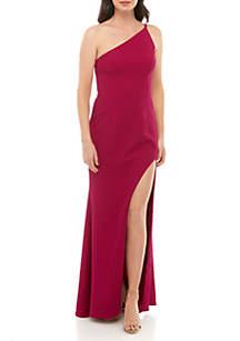 Xscape One Shoulder Crepe Gown