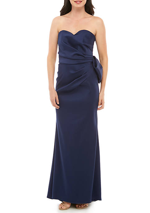 Strapless Bow Back Satin Gown