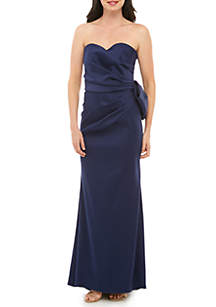 Xscape Strapless Bow Back Satin Gown