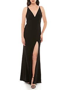 Xscape Deep V Neck Jersey Gown