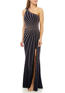 Xscape One Shoulder Beaded Jersey Gown