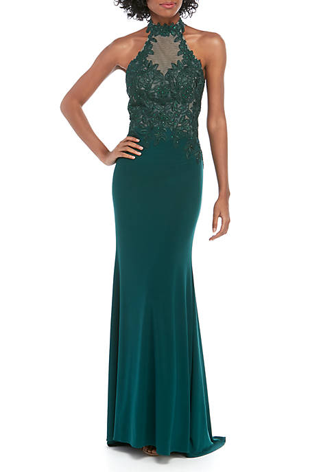 Embroidered Beaded Mesh Bodice Jersey Gown