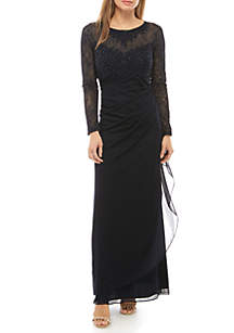 Xscape Beaded Lace Bodice Chiffon Gown