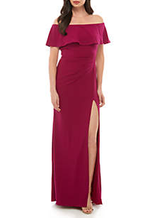 Xscape Off the Shoulder Jersey Gown
