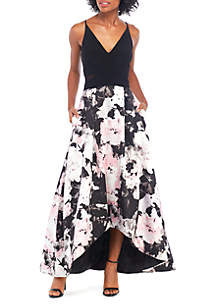 Xscape High Low Hem Floral Printed Gown