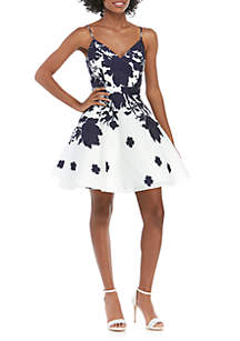Xscape Sleeveless Printed Open Back Fit and Flare Dress