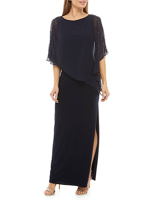 Beaded Chiffon Overlay Jersey Gown