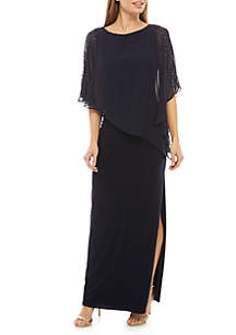 Xscape Beaded Chiffon Overlay Jersey Gown